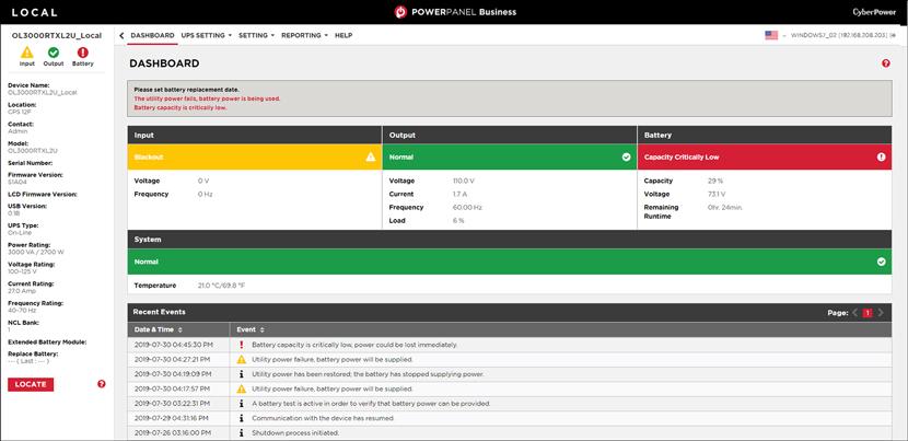 Red status local screenshot