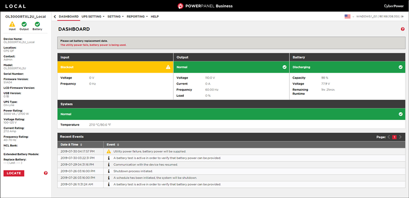 Yellow status local screenshot